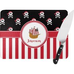 Pirate & Stripes Rectangular Glass Cutting Board (Personalized)