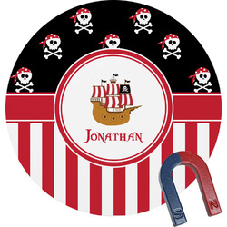 Pirate & Stripes Round Fridge Magnet (Personalized)