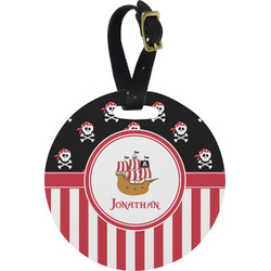 Pirate & Stripes Round Luggage Tag (Personalized)