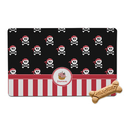 Pirate & Stripes Pet Bowl Mat (Personalized)