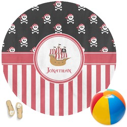 Pirate & Stripes Round Beach Towel (Personalized)