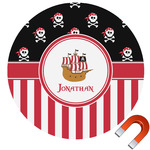 Pirate & Stripes Round Car Magnet (Personalized)