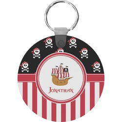 Pirate & Stripes Round Keychain (Personalized)