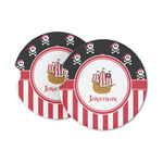 Pirate & Stripes Sandstone Car Coasters (Personalized)