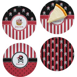 """Pirate & Stripes Set of 4 Glass Appetizer / Dessert Plate 8"""" (Personalized)"""