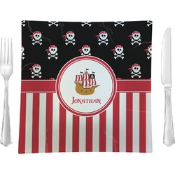 Pirate & Stripes Glass Square Lunch / Dinner Plate 9.5