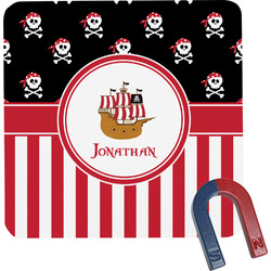 Pirate & Stripes Square Fridge Magnet (Personalized)