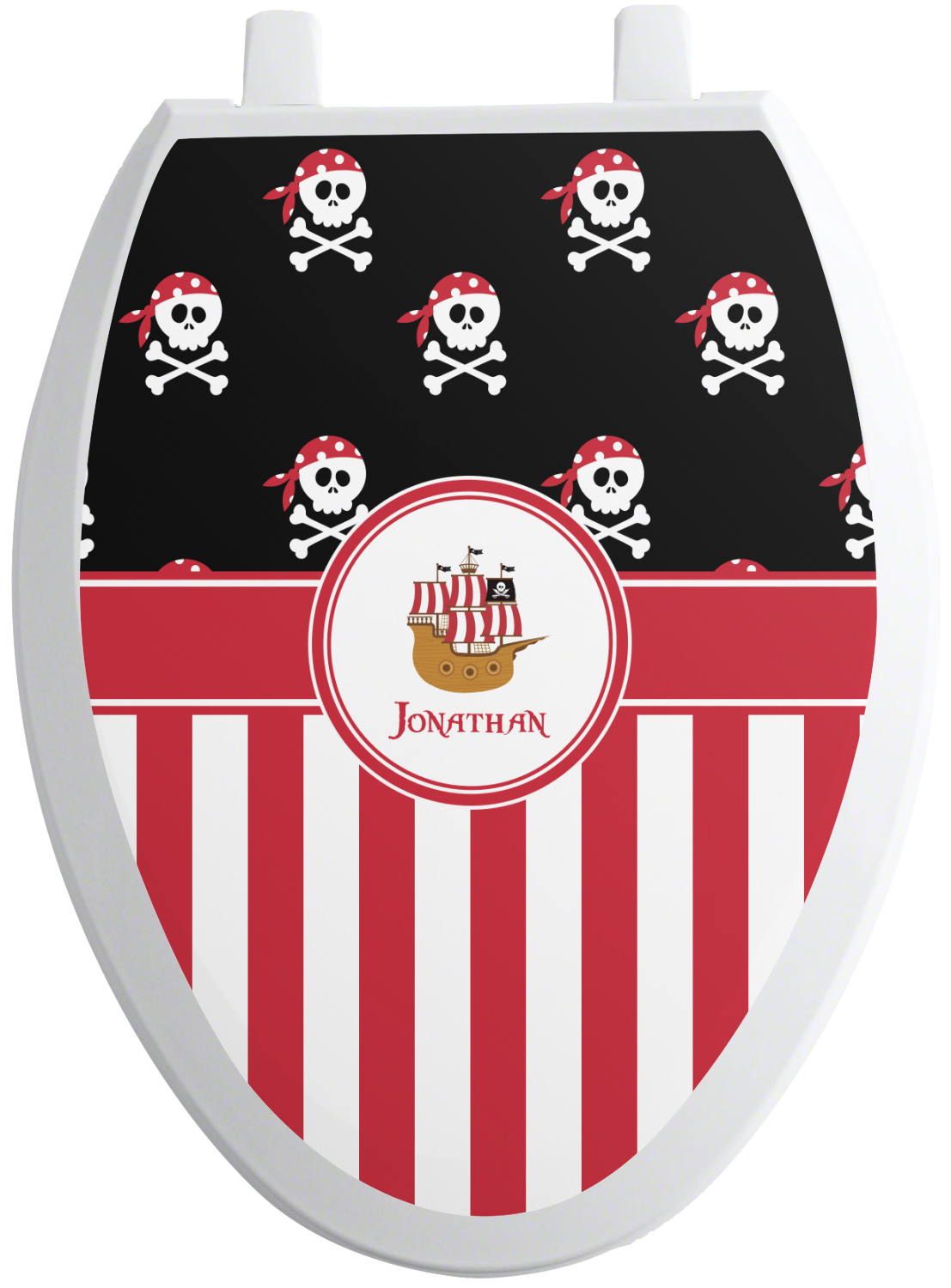 pirate stripes toilet seat decal elongated. Black Bedroom Furniture Sets. Home Design Ideas