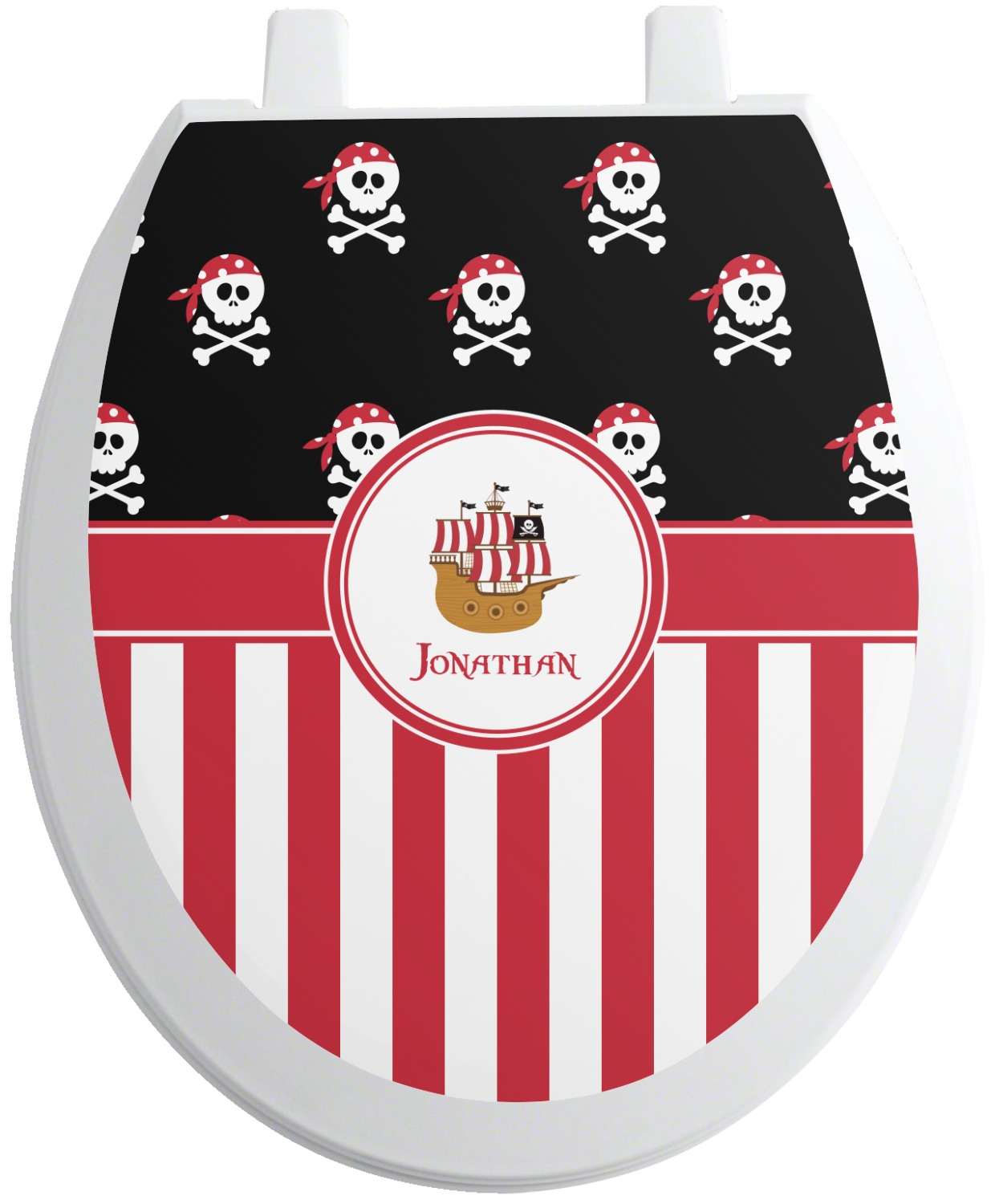 pirate stripes toilet seat decal round personalized. Black Bedroom Furniture Sets. Home Design Ideas