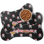 Pirate Bone Shaped Dog Food Mat (Personalized)