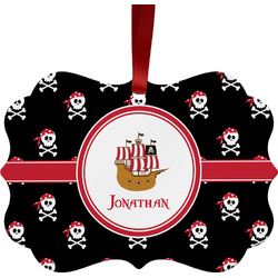 Pirate Metal Frame Ornament - Double Sided w/ Name or Text