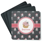 Pirate 4 Square Coasters - Rubber Backed (Personalized)