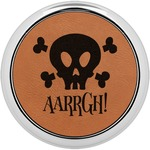 Pirate Leatherette Round Coaster w/ Silver Edge - Single or Set (Personalized)