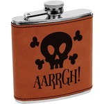 Pirate Leatherette Wrapped Stainless Steel Flask (Personalized)
