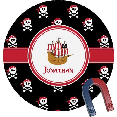 Pirate Round Fridge Magnet (Personalized)