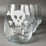 Pirate Stemless Wine Glasses (Set of 4) (Personalized)