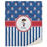 Blue Pirate Sherpa Throw Blanket (Personalized)
