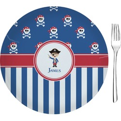 "Blue Pirate Glass Appetizer / Dessert Plates 8"" - Single or Set (Personalized)"