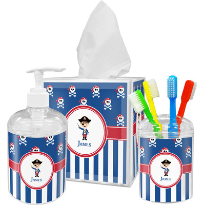Blue Pirate Acrylic Bathroom Accessories Set w/ Name or Text