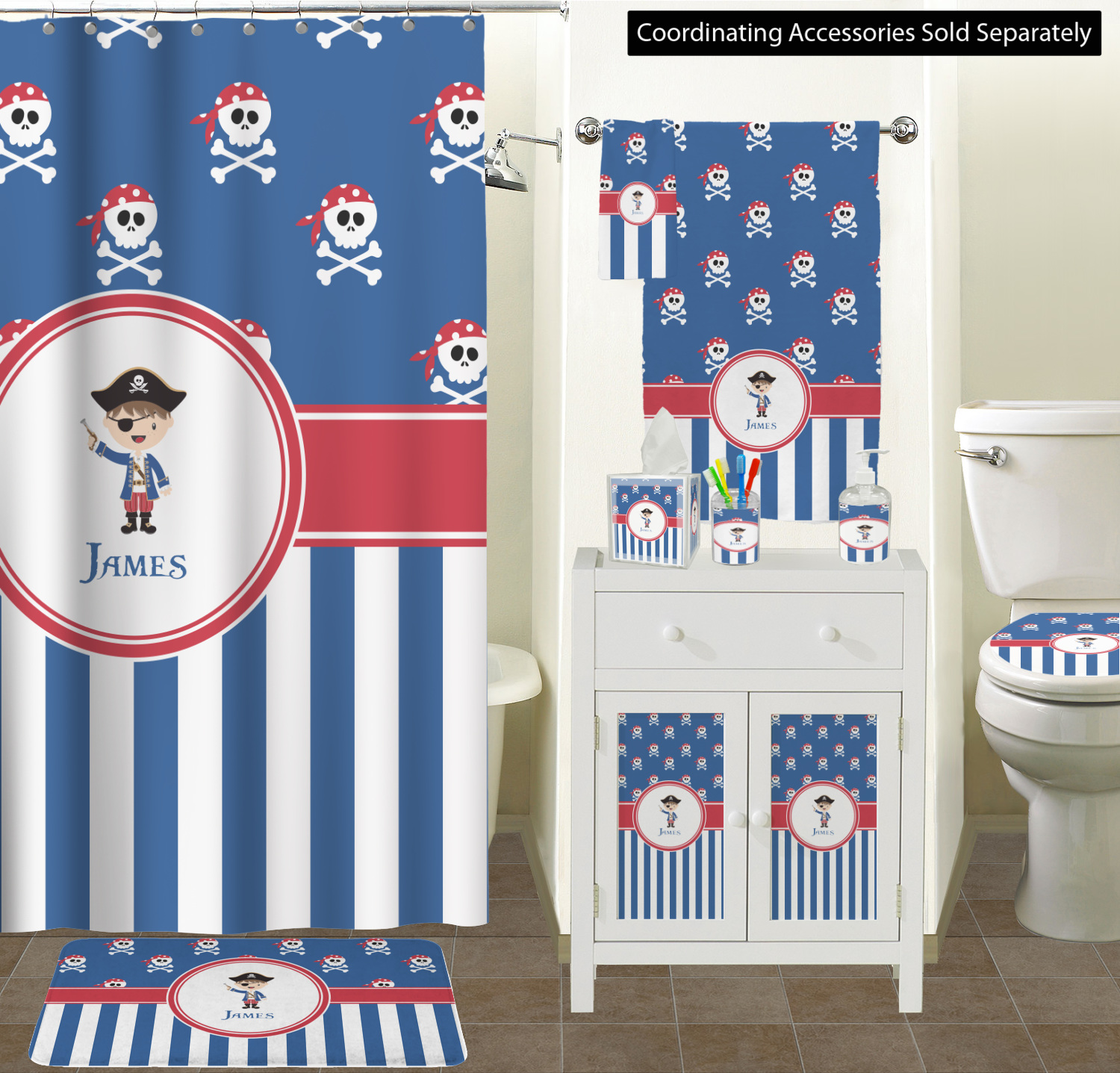 Pirate Shower Curtain Part - 19: ... Shower Curtain for Boys Hair and Skin Color Blue Pirate Bathroom Scene  ...