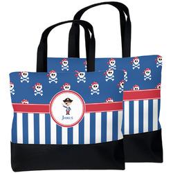 Blue Pirate Beach Tote Bag (Personalized)