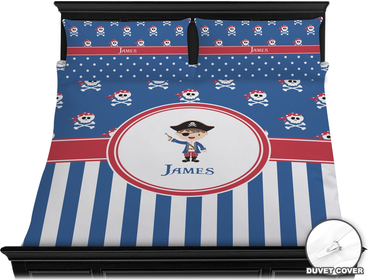 Blue Pirate Duvet Cover Set King Personalized
