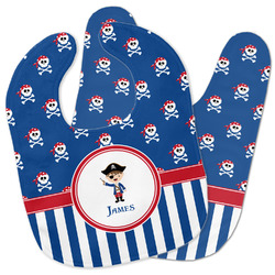 Blue Pirate Baby Bib w/ Name or Text