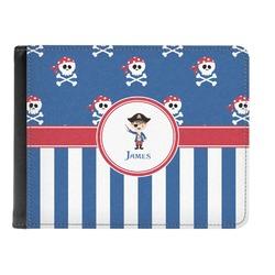 Blue Pirate Genuine Leather Men's Bi-fold Wallet (Personalized)