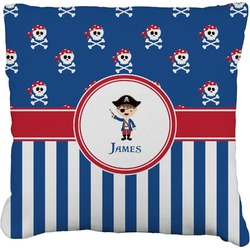 """Blue Pirate Faux-Linen Throw Pillow 16"""" (Personalized)"""