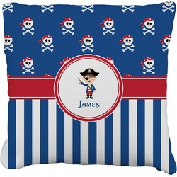 """Blue Pirate Faux-Linen Throw Pillow 26"""" (Personalized)"""