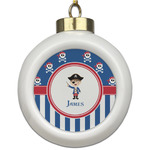 Blue Pirate Ceramic Ball Ornament (Personalized)