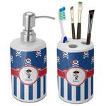 Blue Pirate Bathroom Accessories Set (Ceramic) (Personalized)
