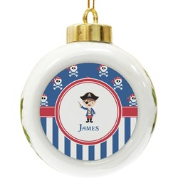 Blue Pirate Ceramic Ball Ornament (Personalized)
