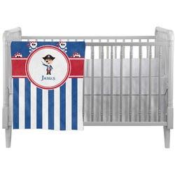 Blue Pirate Crib Comforter / Quilt (Personalized)