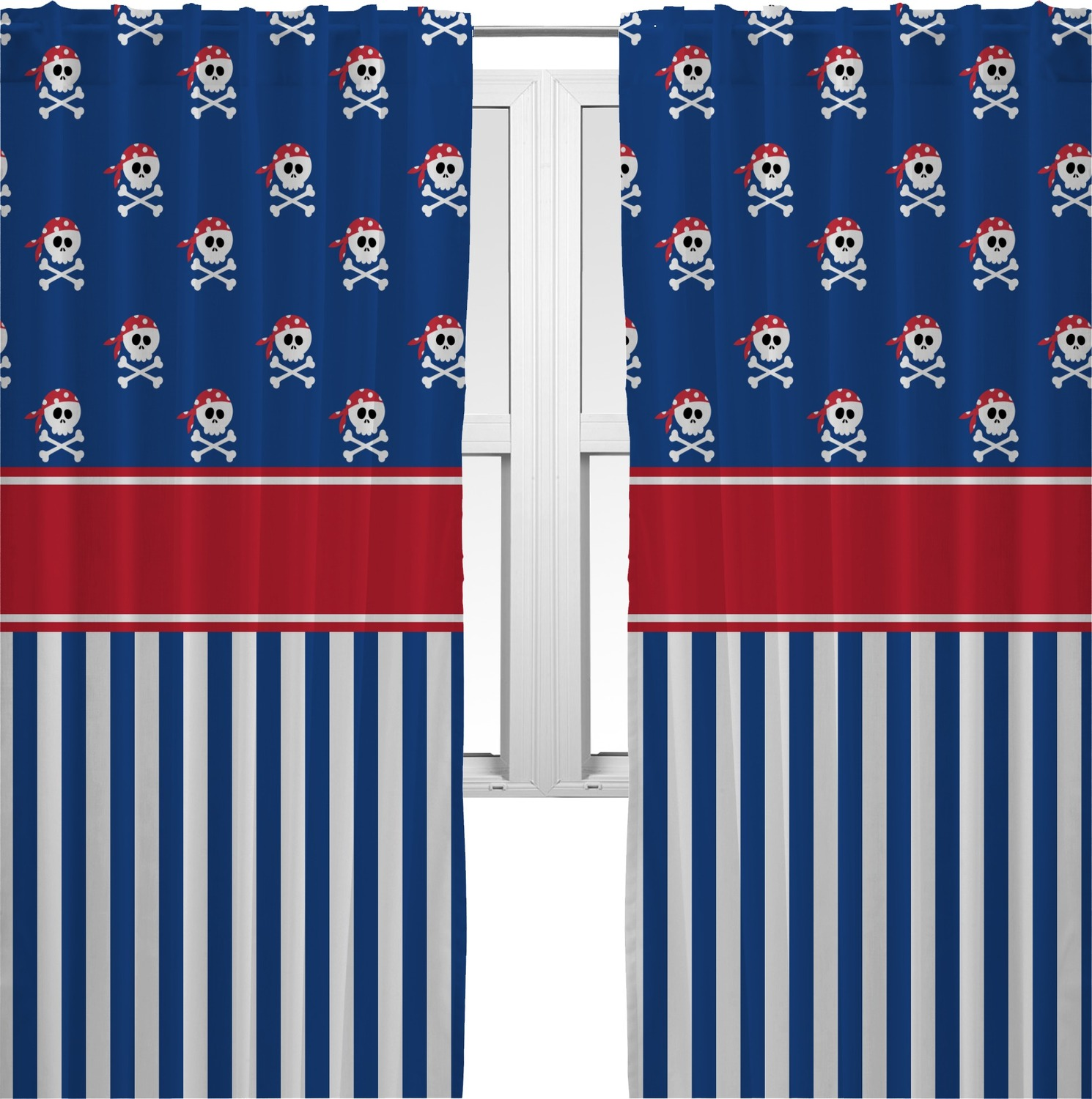 Perfect Blue Pirate Curtains (2 Panels Per Set) (Personalized)