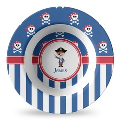 Blue Pirate Plastic Bowl - Microwave Safe - Composite Polymer (Personalized)