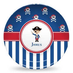 Blue Pirate Microwave Safe Plastic Plate - Composite Polymer (Personalized)