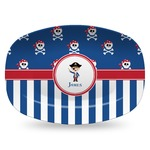 Blue Pirate Plastic Platter - Microwave & Oven Safe Composite Polymer (Personalized)