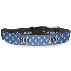 "Blue Pirate Deluxe Dog Collar - Large (13"" to 21"") (Personalized)"