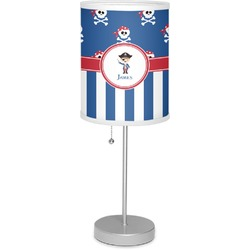 """Blue Pirate 7"""" Drum Lamp with Shade Linen (Personalized)"""
