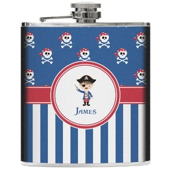 Blue Pirate Genuine Leather Flask (Personalized)