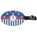 Blue Pirate Genuine Leather Oval Luggage Tag (Personalized)