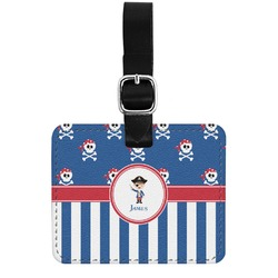 Blue Pirate Genuine Leather Rectangular  Luggage Tag (Personalized)
