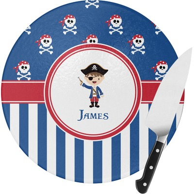 Blue Pirate Round Glass Cutting Board (Personalized)