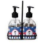 Blue Pirate Soap & Lotion Dispenser Set (Glass) (Personalized)