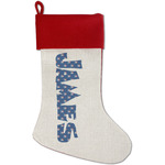 Blue Pirate Red Linen Stocking (Personalized)