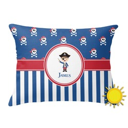 Blue Pirate Outdoor Throw Pillow (Rectangular) (Personalized)