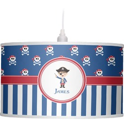 Blue Pirate Drum Pendant Lamp Linen (Personalized)