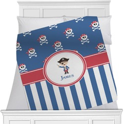 "Blue Pirate Fleece Blanket - Twin / Full - 80""x60"" - Double Sided (Personalized)"