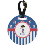 Blue Pirate Round Luggage Tag (Personalized)